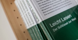 Bücher mit heller Schrift in grün und weiß in einem Regal.