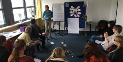 Projekt-Seminar in der Hohenwestedter Werkstatt. Eine Gruppe Werkstatt-Beschäftigter bearbeitet zusammen mit einer Moderatorin aus dem Diakonischen Hilfswerk Schleswig-Holstein das Thema Wie setze ich meine Interessen durch.
