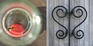 Links: von oben Blick in eine Flasche. Man sieht s