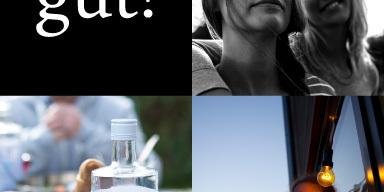Bild ist viergeteilt. Oben links: Spruch: gut! Obe