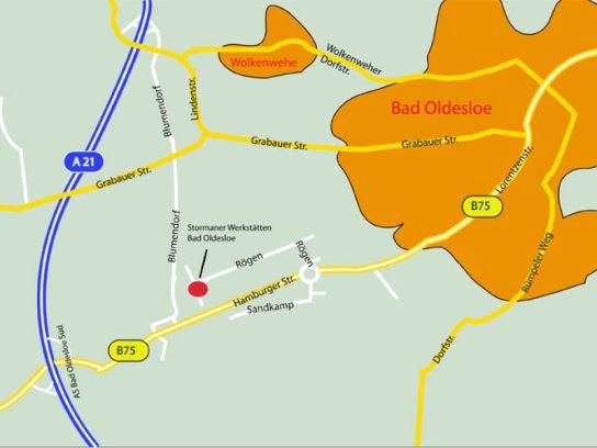 die Anfahrtsbeschreibung zu den Stormarner Werkstätten Bad Oldesloe