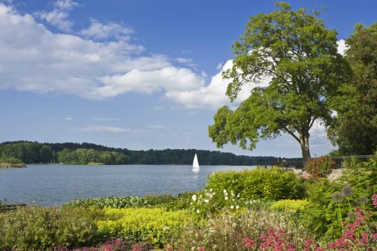 Hier ist ein See zu sehen, auf dem ein weisses kleines Segelboot schippert. Am Ufer des Sees blühen Blumen.