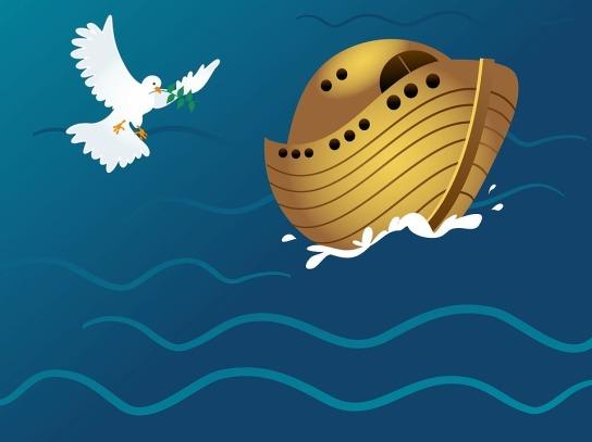 Eine weiße Taube mit einem Mistelzweig fliegt zur Arche die auf dem Meer schwimmt.