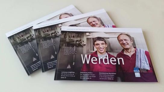 Bild: Drei Broschüren liegen auf einem Tisch verteilt.
