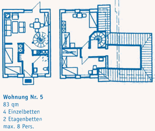 Wohnung 5 83 qm 3 Schlafräume 4 Einzelbetten, 2 Etagenbetten max. 8 Personen