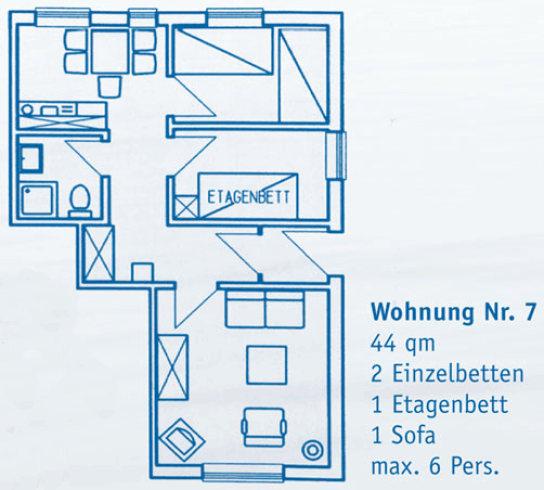 Wohnung 7 44 qm 2 Schlafräume 2 Einzelbetten, 1 Etagenbett, 1 Sofa max. 6 Personen