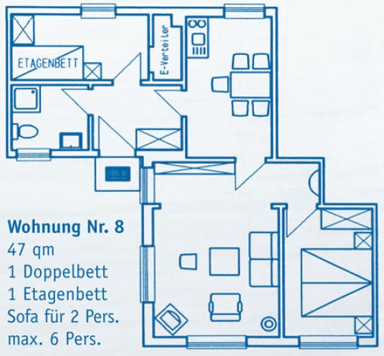 Wohnung 8 47 qm 2 Schlafräume 1 Doppelbett, 1 Etagenbett, 1 Sofa max. 6 Personen