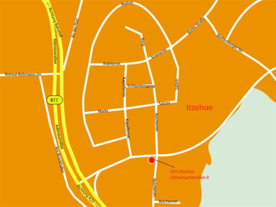 Anfahrtskizze zum Arbeitsverbund Steinburg Schumacherallee 8 in Itzhoe