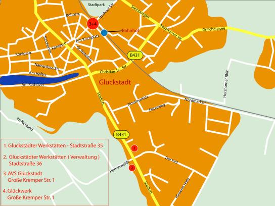 Standorte der Glückstädter Werkstätten in Glückstadt