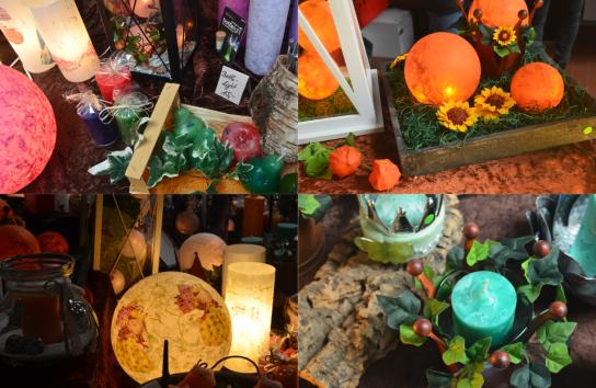 Eine Bild-Collage aus vier Fotos zeigt mehrere Herbstideen aus der Hohenwestedter Werkstatt. Kerzen, Lampen und Deko-Ideen werden hier in der Lern- und Motivationsgruppe kreativ umgesetzt.