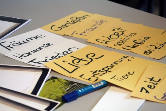Die verschiedenen Themen für die Workshops auf Zetteln