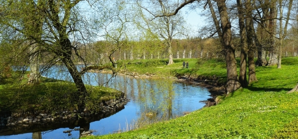 Wir sehen einen blauen See mit grünem Ufer und ei