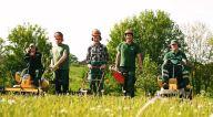 Fünf Gärtner mähen den Rasen.