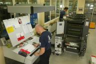 Arbeitsplatz Layout und Grafik der Druckerei im Dw