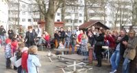 Alle Kindergruppen sangen ein Frühlingslied, was die Eltern freute
