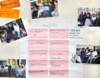 Präsentation der Arbeitsergebnisse nach Abschluss des Sozialkompetenz-Trainings in der Aula der Elisabeth-Oberschule