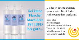 Auf dem Bild sieht man drei gut2-Flaschen und einen Text, der den Betrachter über die Möglichkeiten eines FSJs oder BFDs in der Hohenwestedter Werkstatt informiert.