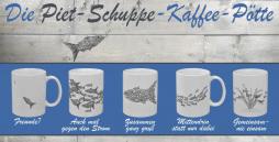 Die Piet-Pott-Kollektion besteht aus fünf verschiedenen Tassen mit je einem anderen Motiv.
