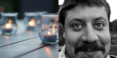 Links: leicht verschwommen sieht man kleine leucht
