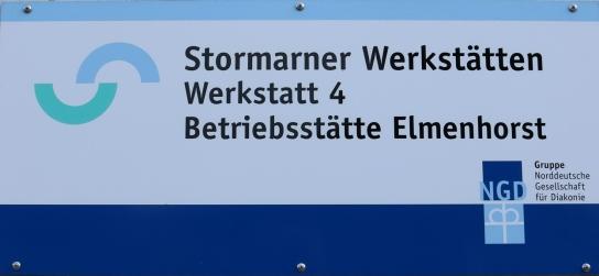 Schild Werkstatt 4 in Elmenhorst