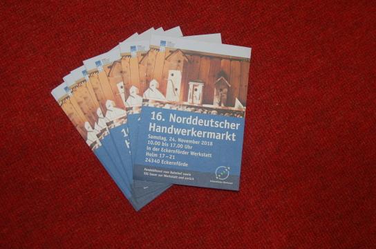 Das Bild zeigt die Vorankündigung für den 16. Norddeutschen Handwerkermarkt am 24.11.2018 in der Eckernförder Werkstatt