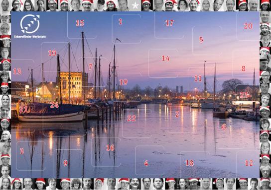 Der Adventskalender der Eckernförder Werkstatt. Ein winterliches Bild vom Eckernförder Hafen ist umrandet von den Gesichtern der Menschen aus der Eckernförder Werkstatt.