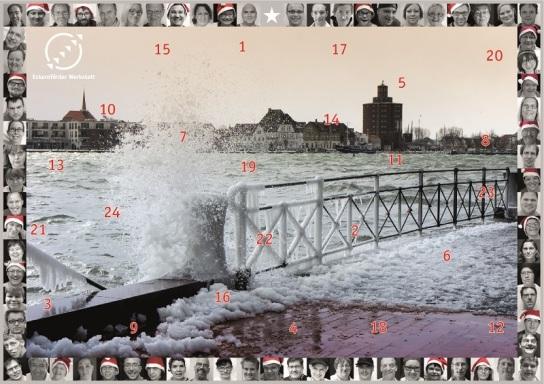 Abgebildet auf dem Kalender ist die winterliche Eckernförder Bucht