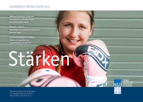 Das Titelbild des Jahresberichtes mit einem lächelnden Mädchen mit rosafarbenen Boxhandschuhen