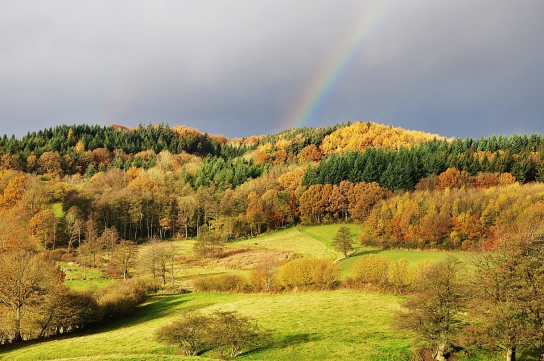 Schoothorster Tal mi Regenbogen im Naturpark Hüttener Berge