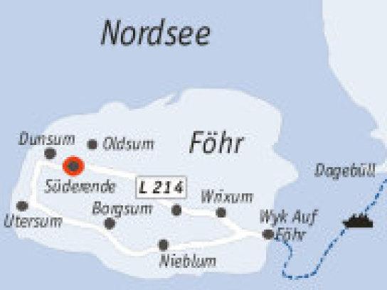 Die Anfahrtsskizze zum Haus Dörpsfeld gibt Orientierung auf der wunderschönen Insel Föhr.