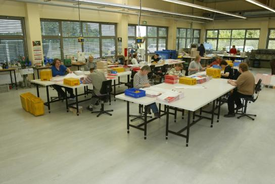 Eine Gruppe von Mitarbeitern arbeitet in der Druck-Nachverarbeitung und legt Einzelblätter zusammen