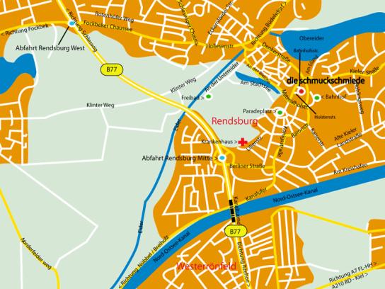 Anfahrt, Werkstätten Materialhof, Schmuckschmiede, Rendsburg