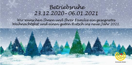 Das Bild zeigt eine winterliche Landschaft mit Schnee und Tannenbäumen und informiert über die Schließzeiten unserer Werkstatt zu Weihnachten.
