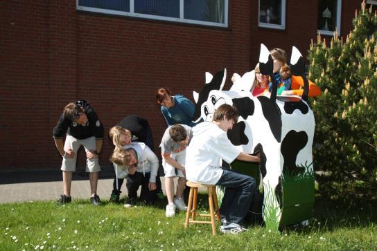 Kinder melken eine \Kuh\