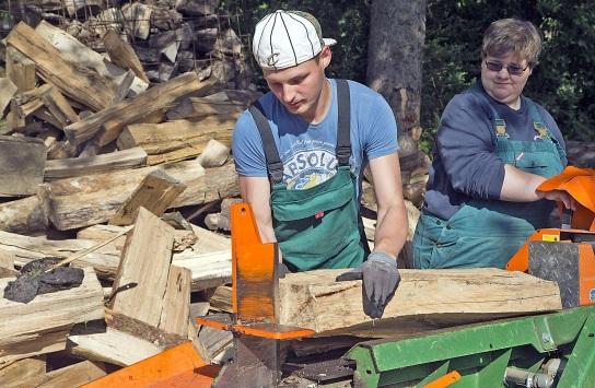 Bild Ein Mitarbeiter mit Handicap legt Holz auf den Holzspalter