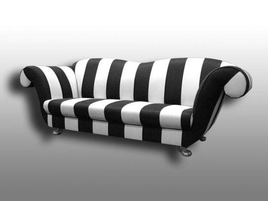 Breetz Sofa. Möbelstoff Romo – Monari Stripe. Neu Bezogen 2006.