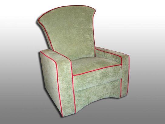 Neu gefertigter Sessel nach Kundenwunsch. Möbelstoff Crushed. 2004.