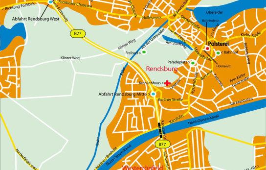 Anfahrt, Werkstätten Materialhof, Polsterei, Rendsburg