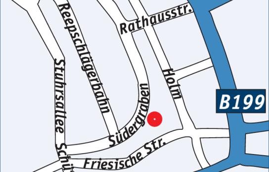 In der Straße Südergraben befindet sich die Beratungsstelle gegenüber der JVA Flensburg in einem alten Gebäude mit einem Turm