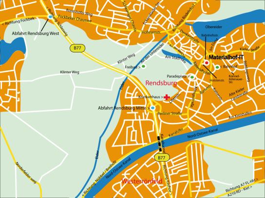 Anfahrt, Werkstätten Materialhof, Materialhof-IT, Rendsburg