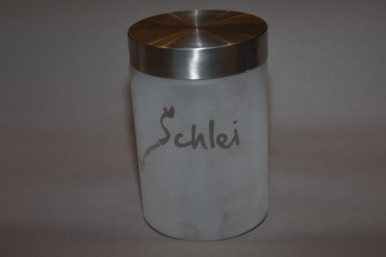 Sandgestrahltes Glas mit Schraubdeckel als Metall