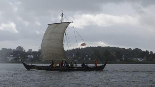 Wikingerschiff Sigyn auf der Schlei unter Segel in