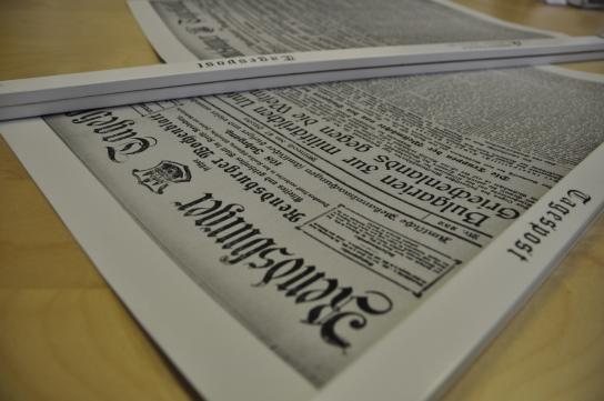 Zeitung von vor 100 Jahren