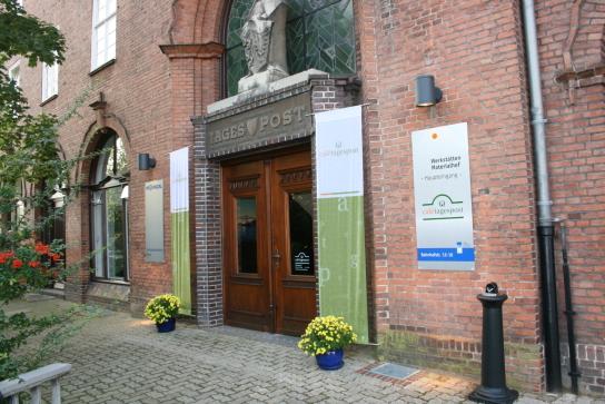 Eingang der Werkstätten Materialhof, Bahnhofstra�
