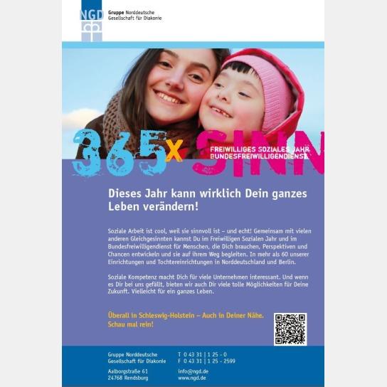 Plakat mit Werbung für Freiwilligendienst