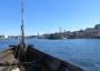 Strahlend blauer Himmel, blaues Wasser und der Blick direkt auf den Bug des Wikingerschiffes Sigyn